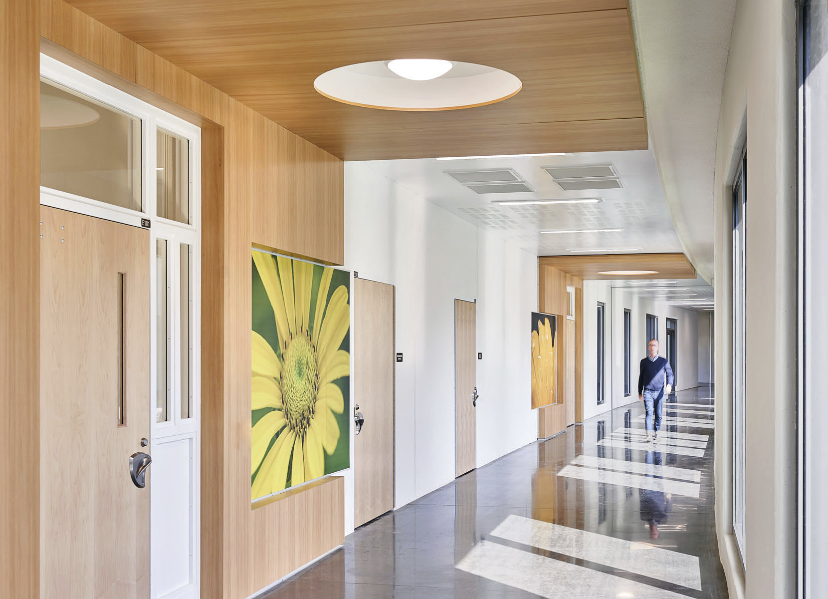 light-filled hallways at the Nixon Forensic Center at Fulton State Hospital create a calm ambiance for patients