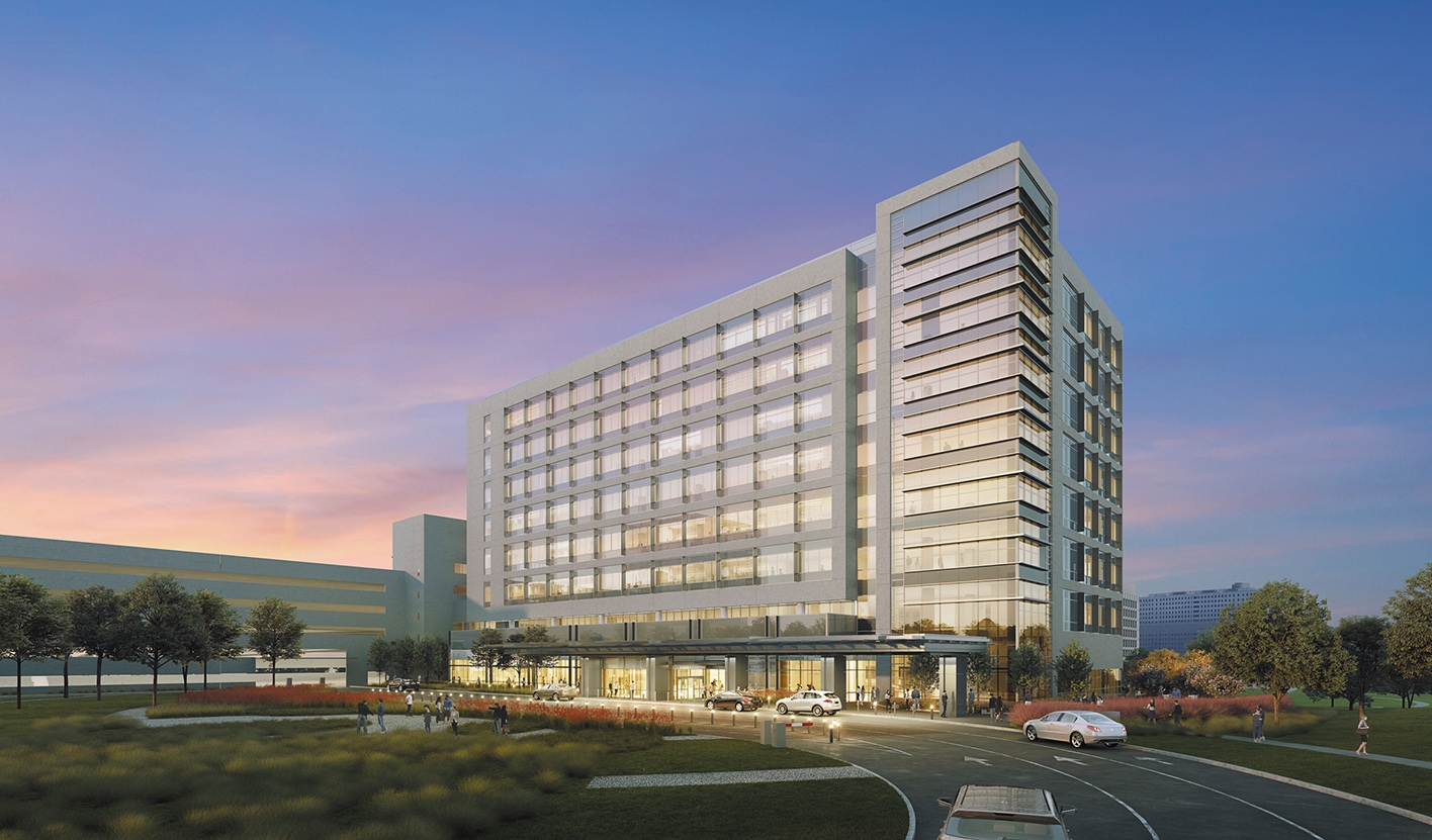 Exterior rendering of cancer center