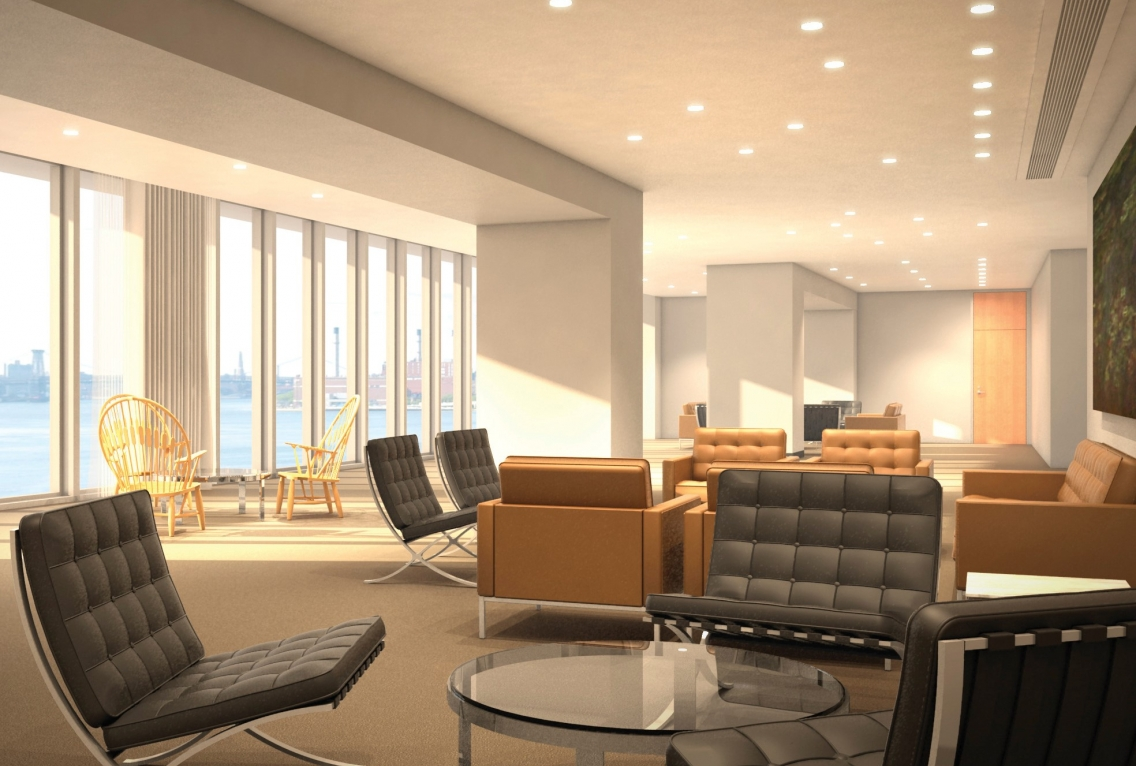Rendering of a new delegates lounge at the UN Headquarters