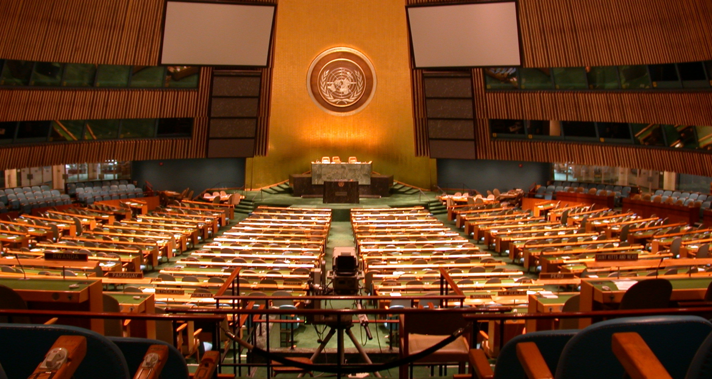 Interior view of the General Assembly Chamber at the UN Headquarters