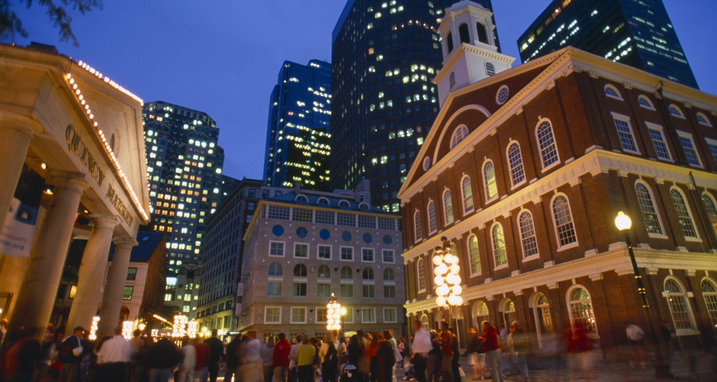 Exterior of Faneuil Hall at Night