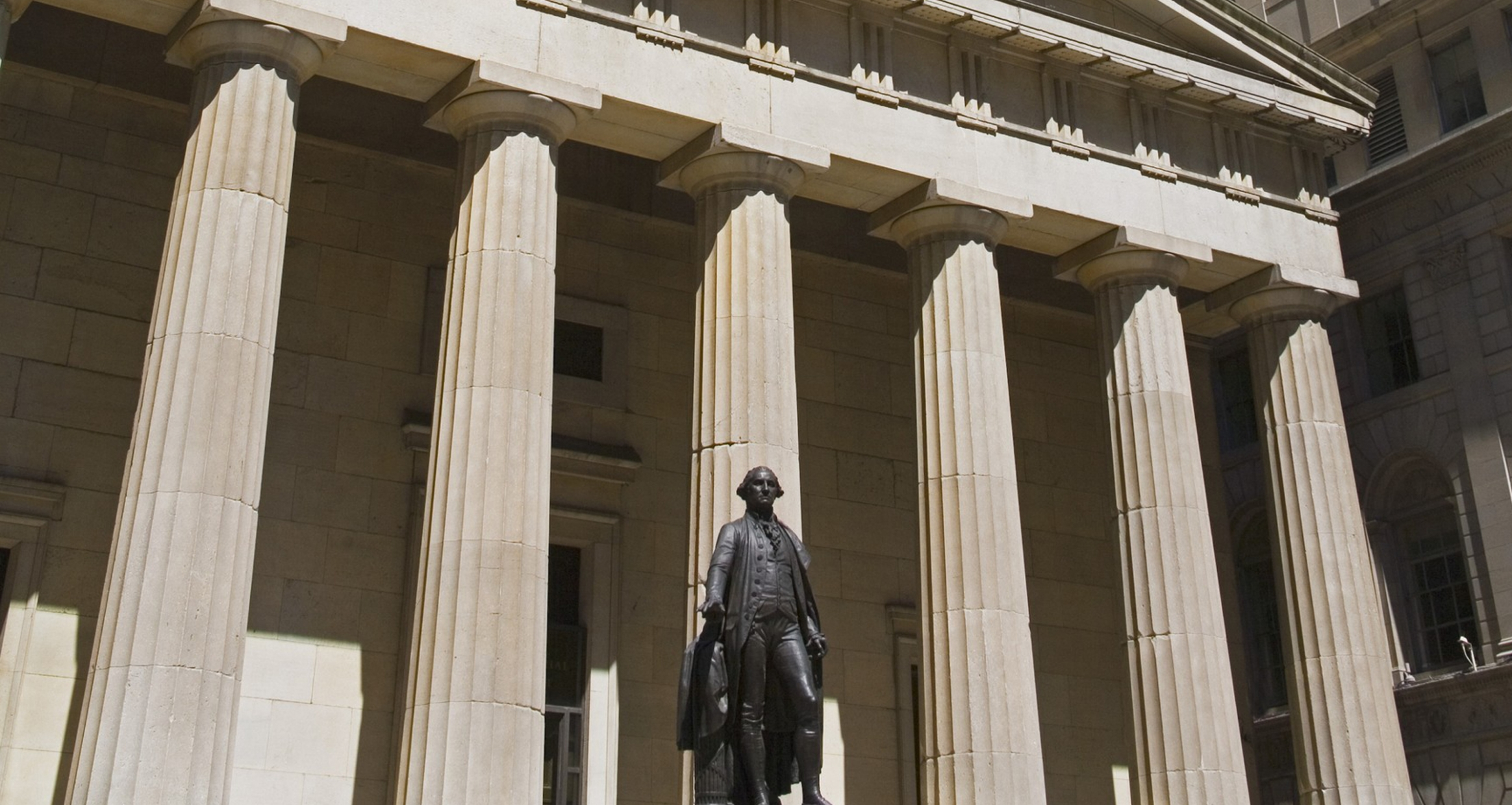 Exterior detail shot of Federal Hall and George Washington statue