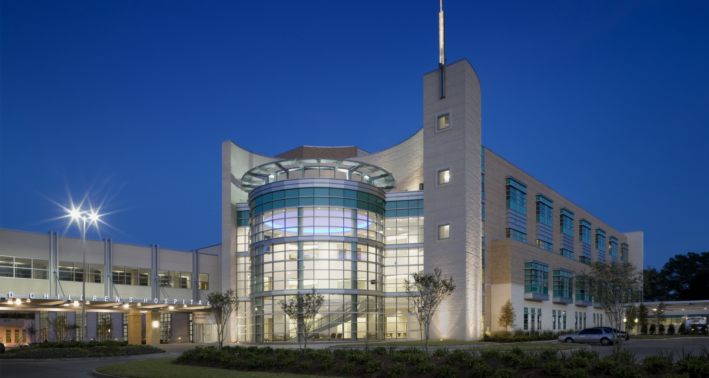St. Frances Cabrini Women and Children's Hospital entrance at Dusk