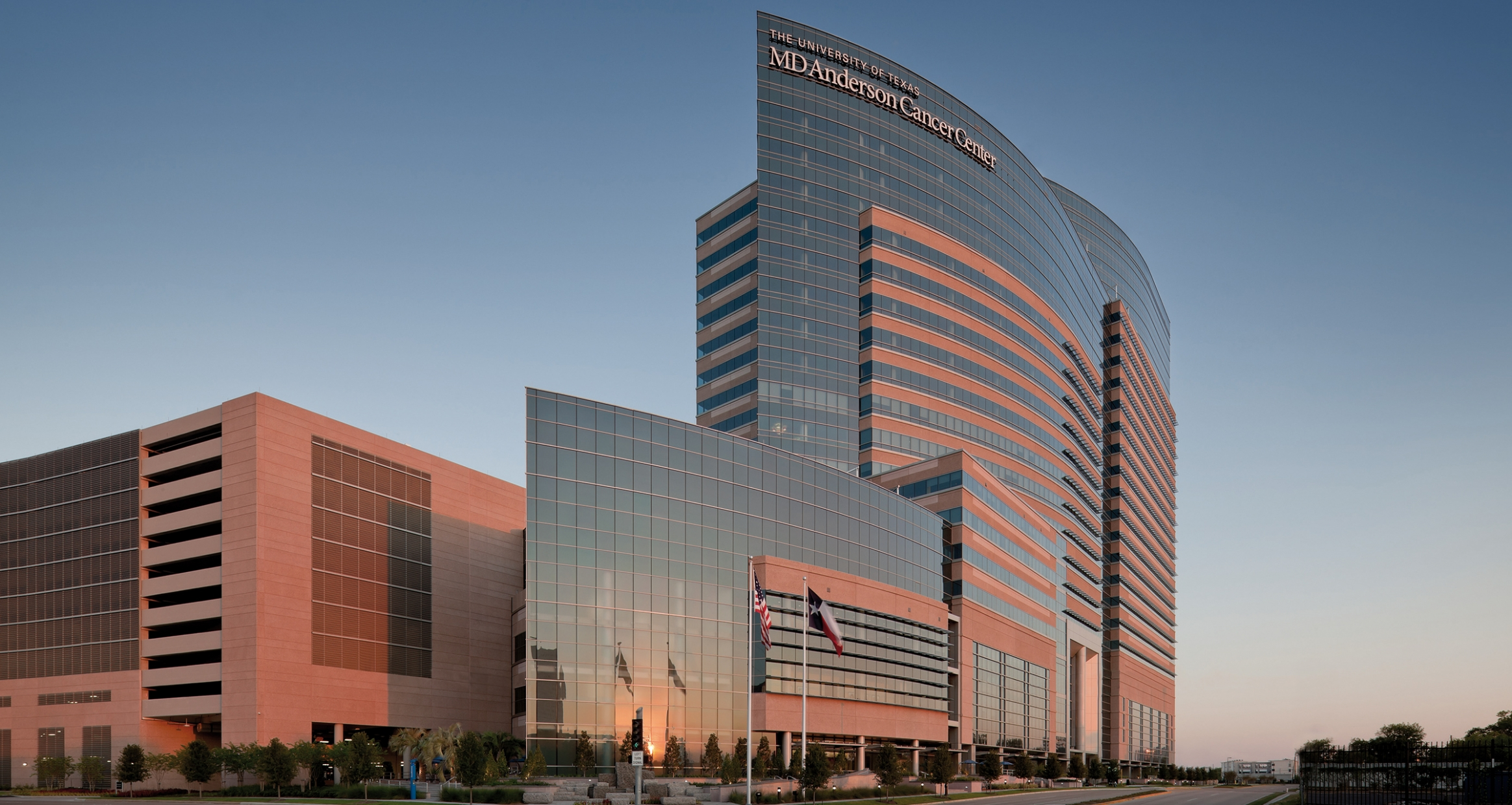 MD Anderson Exterior at dusk
