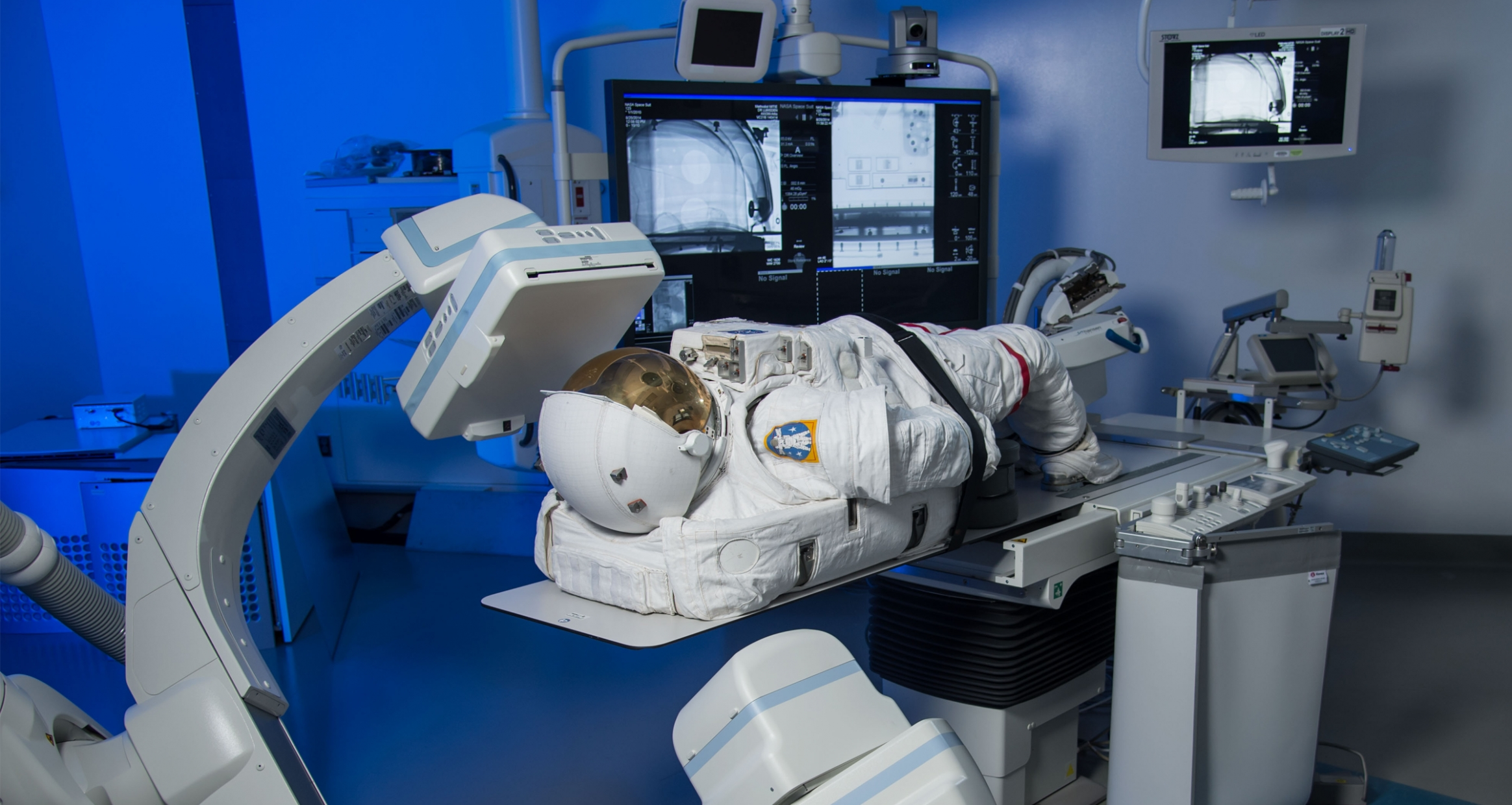 space suit on hospital bed