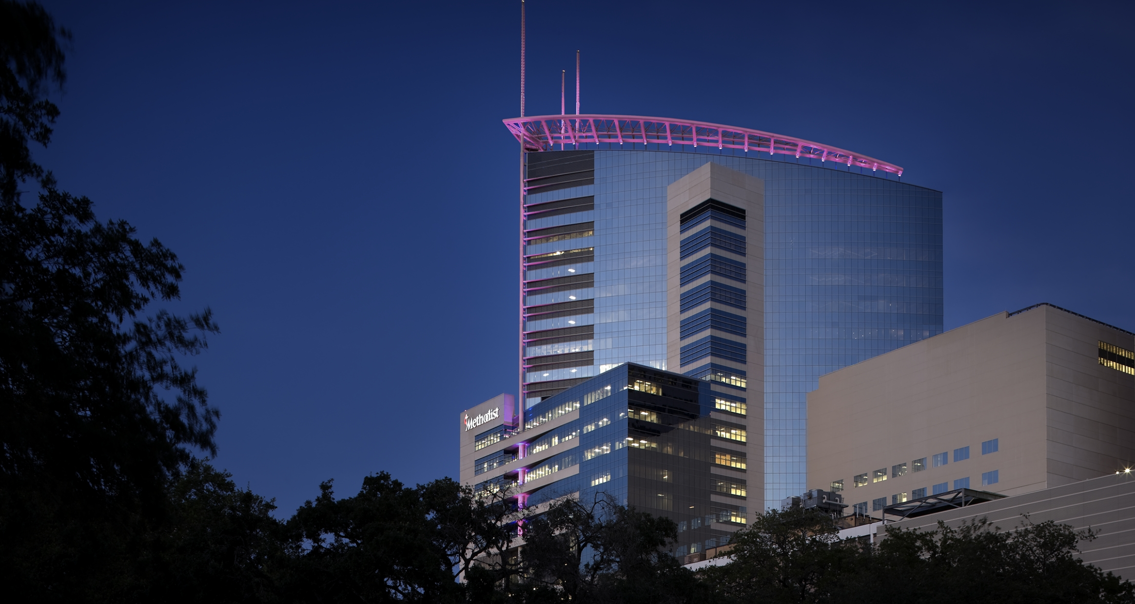 Houston Methodist Outpatient Tower at dusk