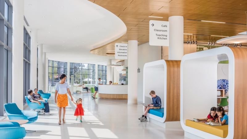 interior design of children's hospital with bright colors