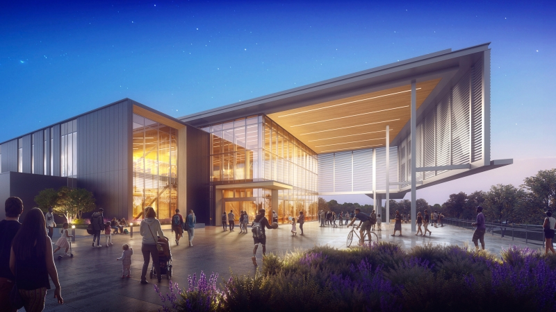 Rendering of community center with people walking on the sidewalk.