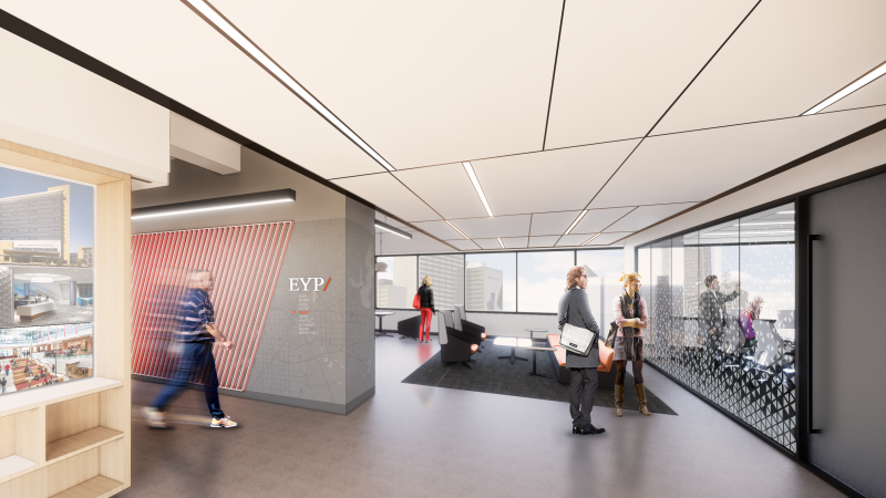 Interior rendering of EYP Dallas' new office space in downtown Dallas