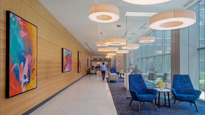 Interior waiting area at MD Anderson Cancer Center in The Woodlands