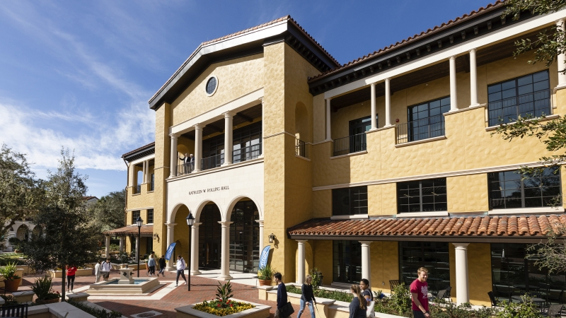 Exterior view of Kathleen W. Rollins Hall at Rollins College