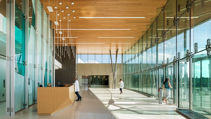 interior lobby of behavioral health facility with a lot of natural light